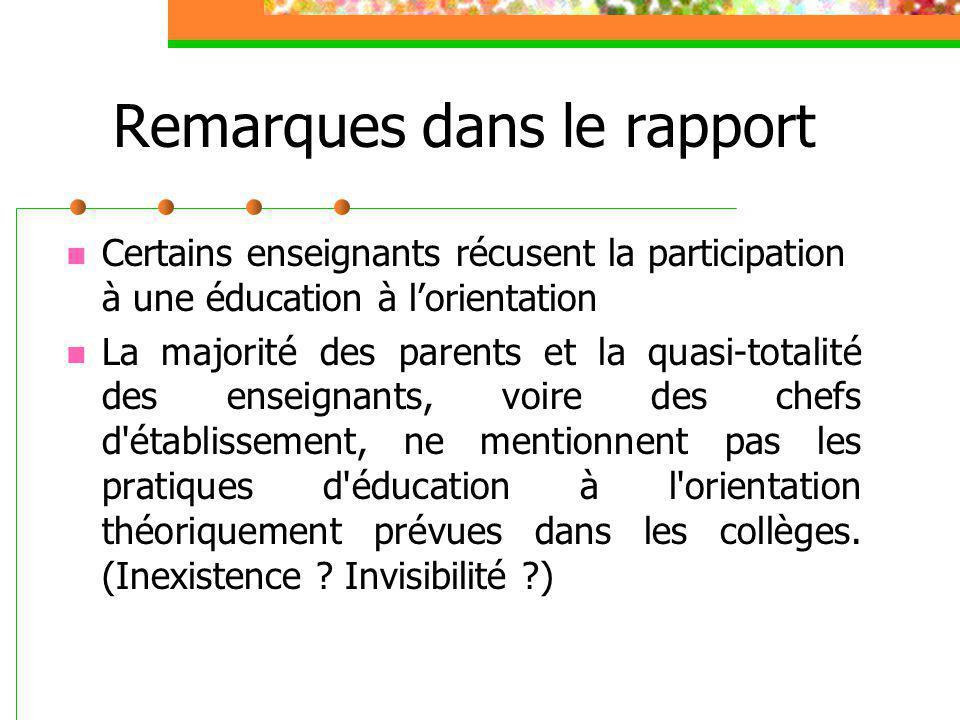 Remarques dans le rapport Certains enseignants récusent la participation à une éducation à l'orientation La majorité des parents et la quasi-totalité