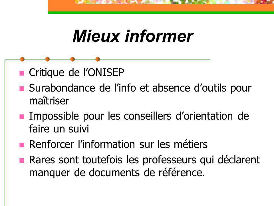 Mieux informer Critique de l'ONISEP Surabondance de l'info et absence d'outils pour maîtriser Impossible pour les conseillers d'orientation de faire u