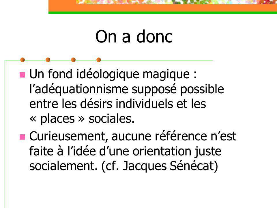 On a donc Un fond idéologique magique : l'adéquationnisme supposé possible entre les désirs individuels et les « places » sociales.