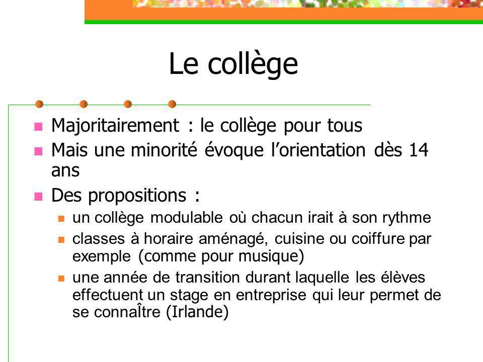 Le collège Majoritairement : le collège pour tous Mais une minorité évoque l'orientation dès 14 ans Des propositions : un collège modulable où chacun