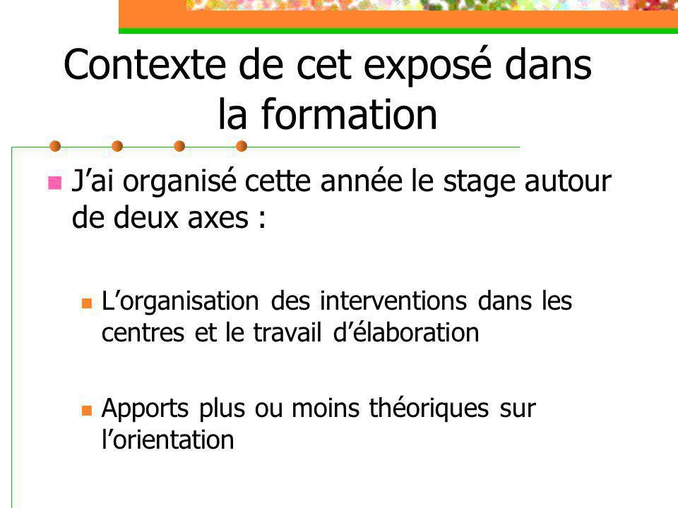 Contexte de cet exposé dans la formation J'ai organisé cette année le stage autour de deux axes : L'organisation des interventions dans les centres et