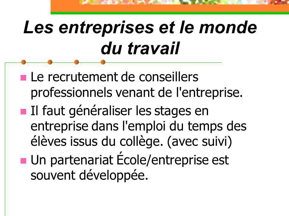 Les entreprises et le monde du travail Le recrutement de conseillers professionnels venant de l entreprise.