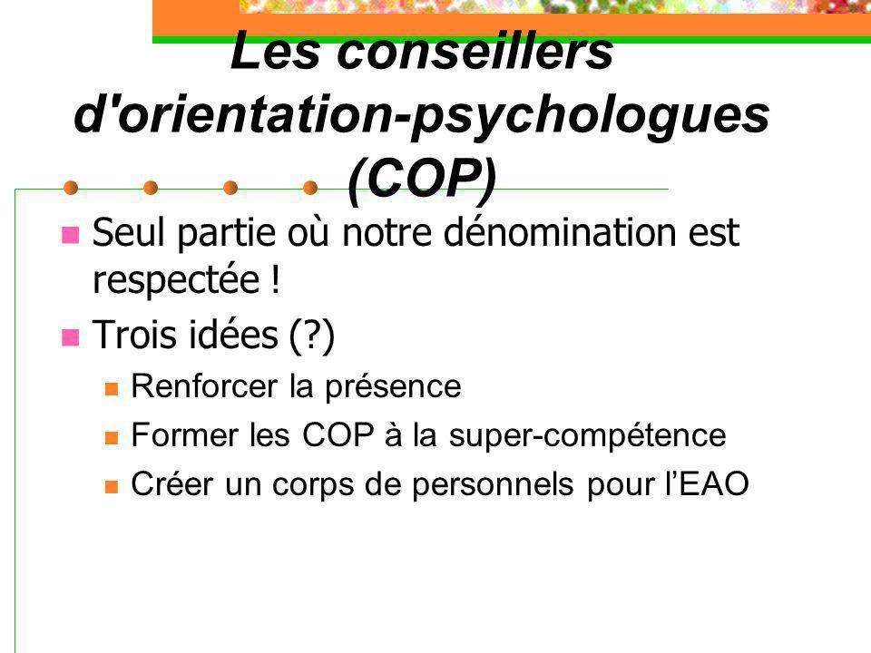 Les conseillers d'orientation-psychologues (COP) Seul partie où notre dénomination est respectée ! Trois idées (?) Renforcer la présence Former les CO