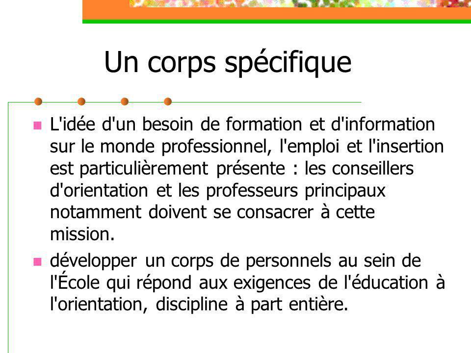 Un corps spécifique L'idée d'un besoin de formation et d'information sur le monde professionnel, l'emploi et l'insertion est particulièrement présente