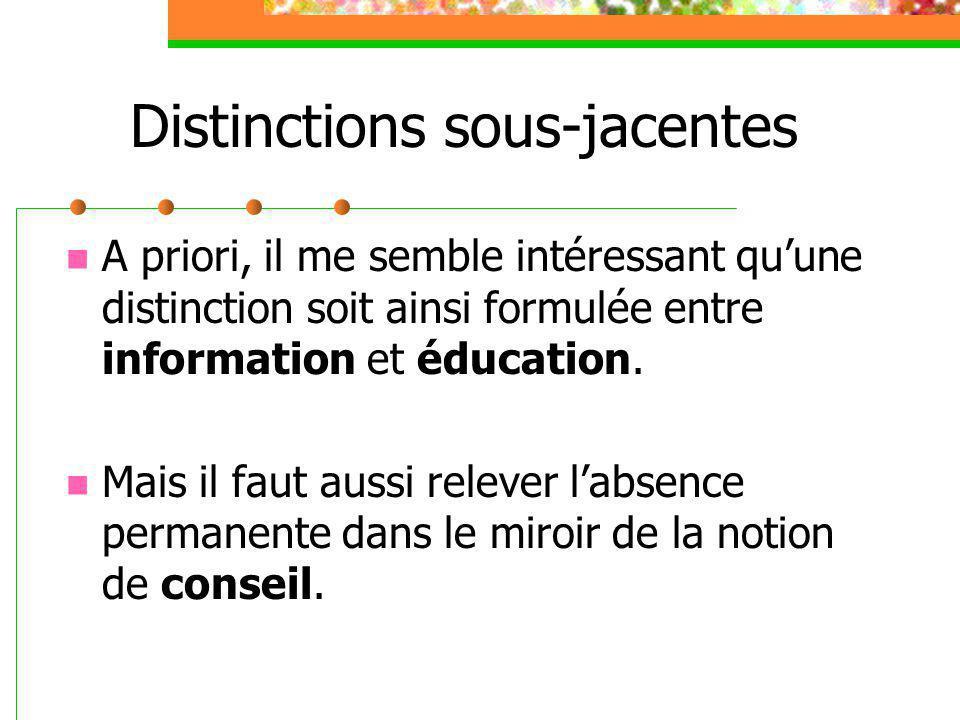 Distinctions sous-jacentes A priori, il me semble intéressant qu'une distinction soit ainsi formulée entre information et éducation. Mais il faut auss