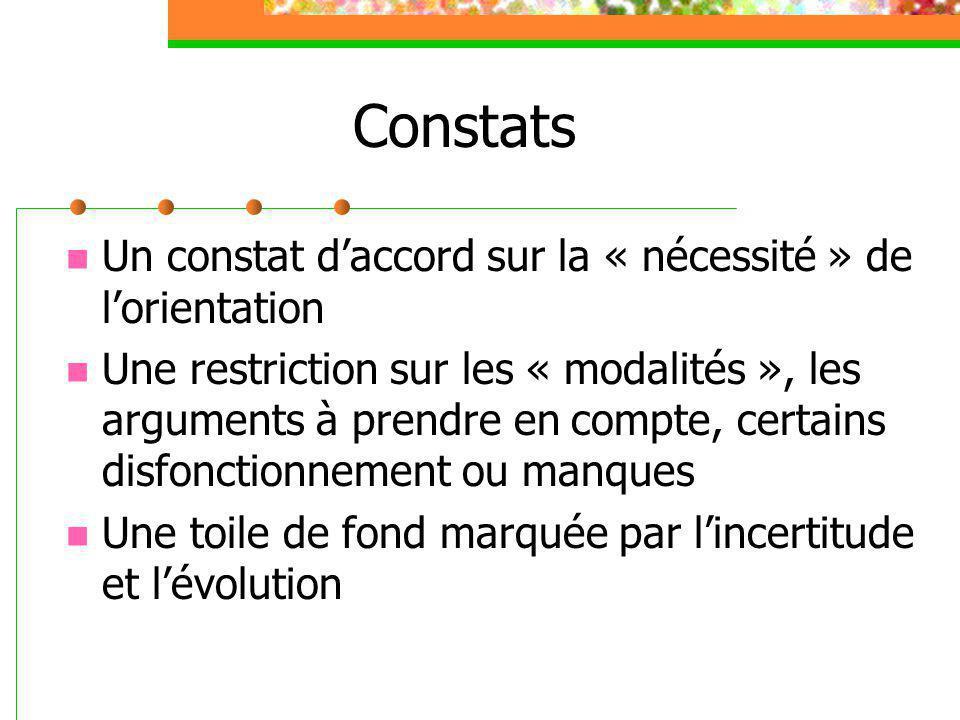 Constats Un constat d'accord sur la « nécessité » de l'orientation Une restriction sur les « modalités », les arguments à prendre en compte, certains disfonctionnement ou manques Une toile de fond marquée par l'incertitude et l'évolution