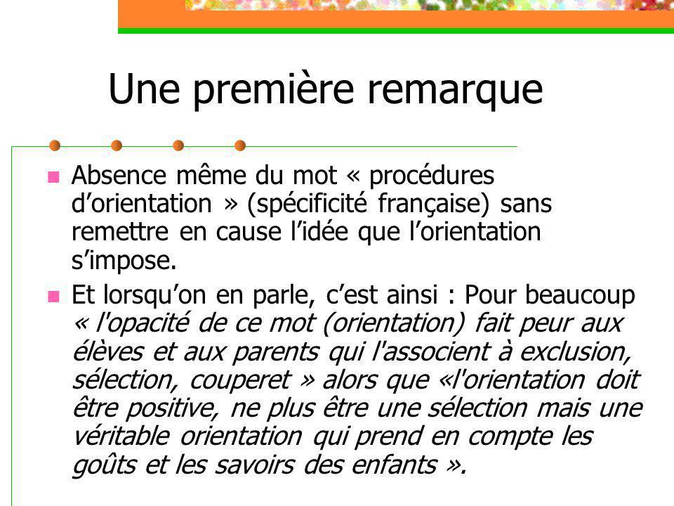 Une première remarque Absence même du mot « procédures d'orientation » (spécificité française) sans remettre en cause l'idée que l'orientation s'impos
