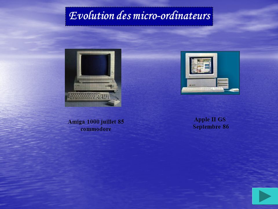 . Janvier 1983 : Apple présente le Lisa (entièrement utilisable à la souris grâce à son interface graphique) et l Apple IIe Novembre : Microsoft commercialise Word 1.0 pour MS/DOS l Apple Macintosh Janvier 84 l Apple IIc Avril 1984 Thomson (MO5) 1984 Amstrad (CPC 464) Atari 520 ST 1985 CBM128 Janvier 85 Commodore Evolution des micro-ordinateurs