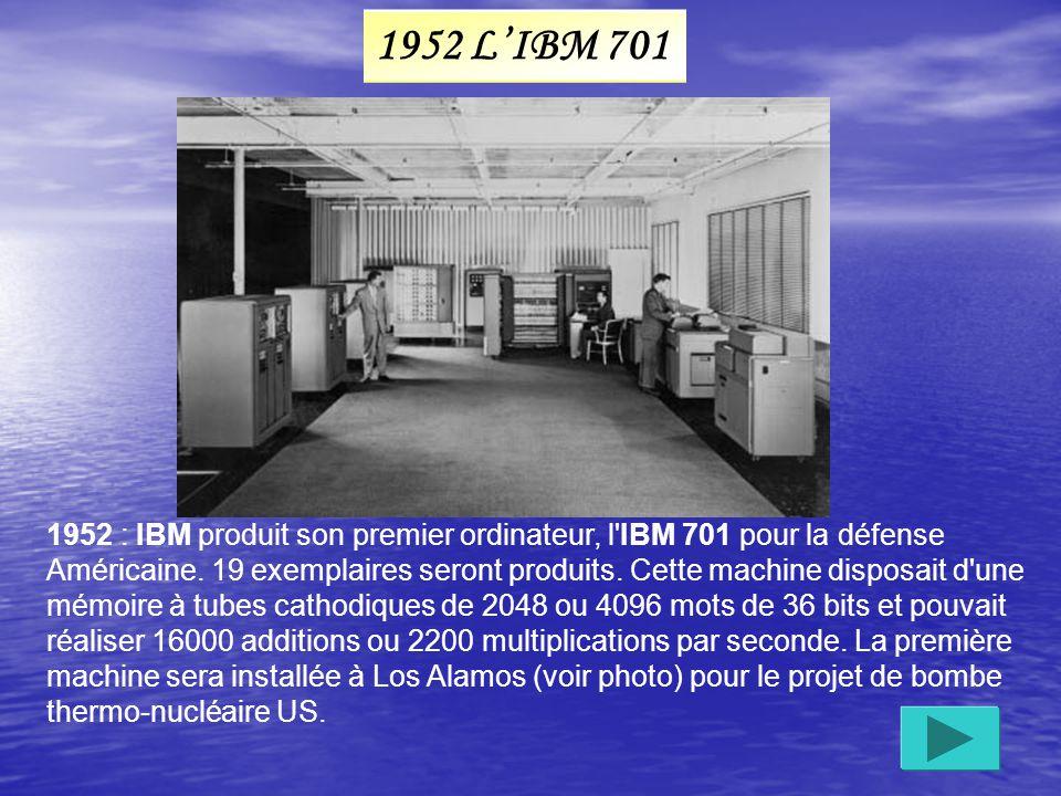 Poids : 30 t, 72 m 2 au sol, necessitant une salle de 1500 M², 42 armoires de 3 m de haut; il consommait 150 000 W, 100 Khz et 5000 additions par seconde.