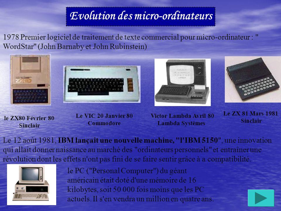 Evolution des micro-ordinateurs 1977 Présentation de l Apple créé dans un garage par deux jeunes garçons Steve Wozniak et Randy Wigginton en 1976.