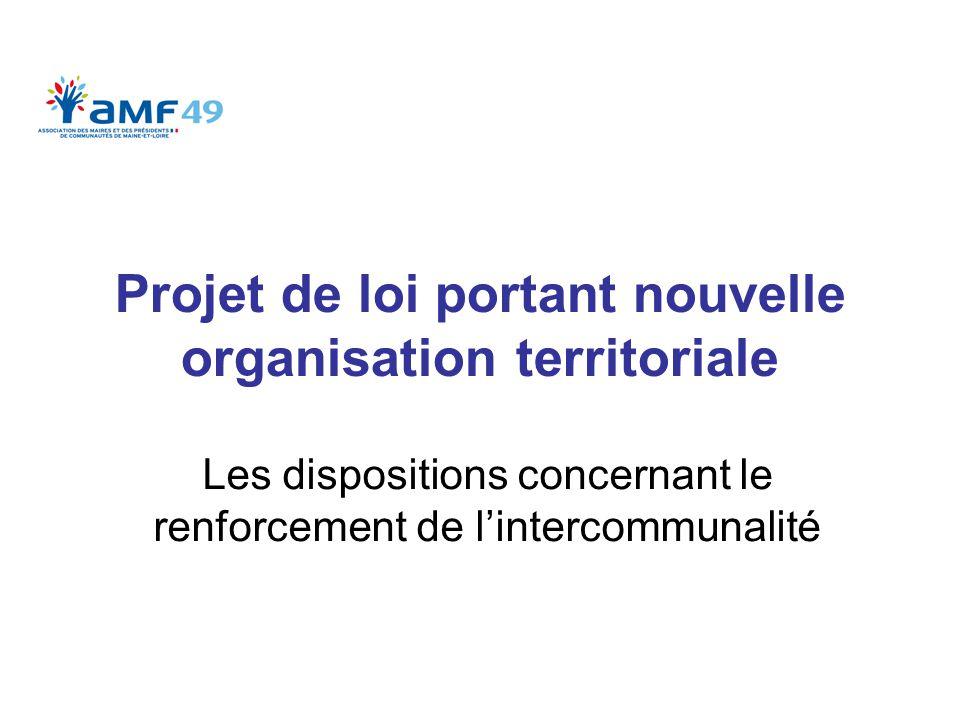 Projet de loi portant nouvelle organisation territoriale Les dispositions concernant le renforcement de l'intercommunalité