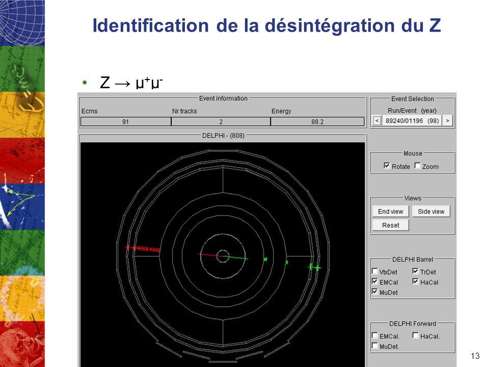 Identification de la désintégration du Z Z → µ + µ - 13