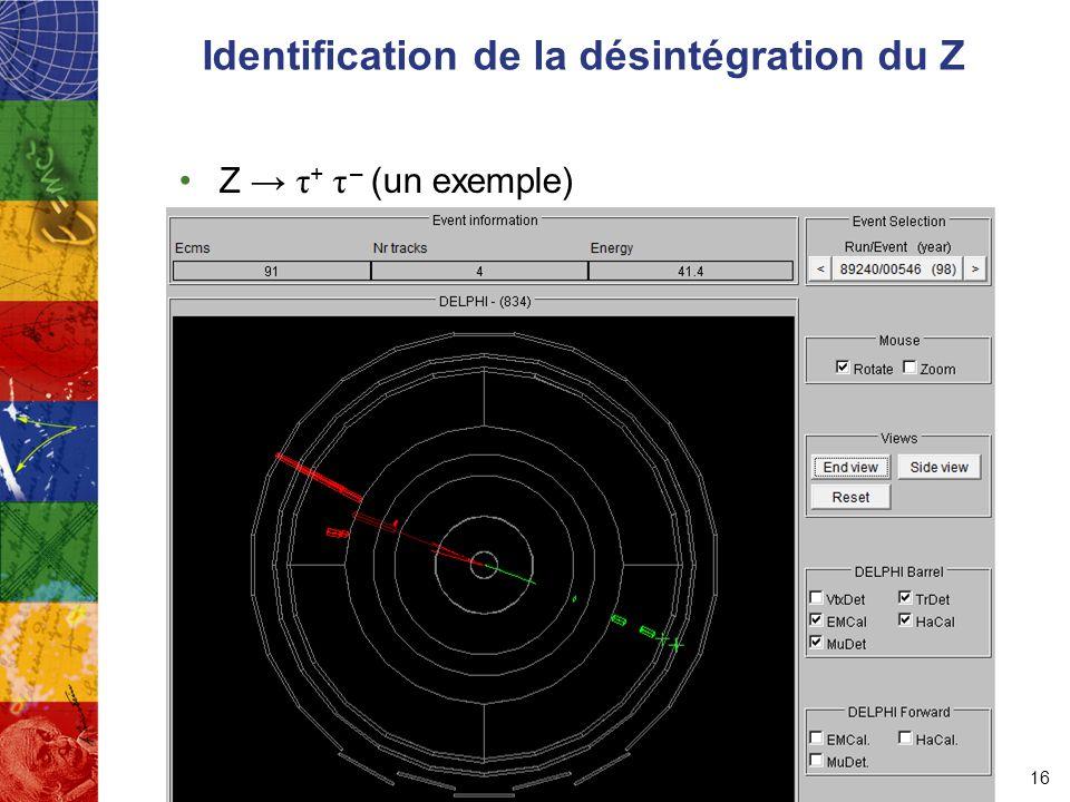 Identification de la désintégration du Z Z → τ + τ – (un exemple) 16