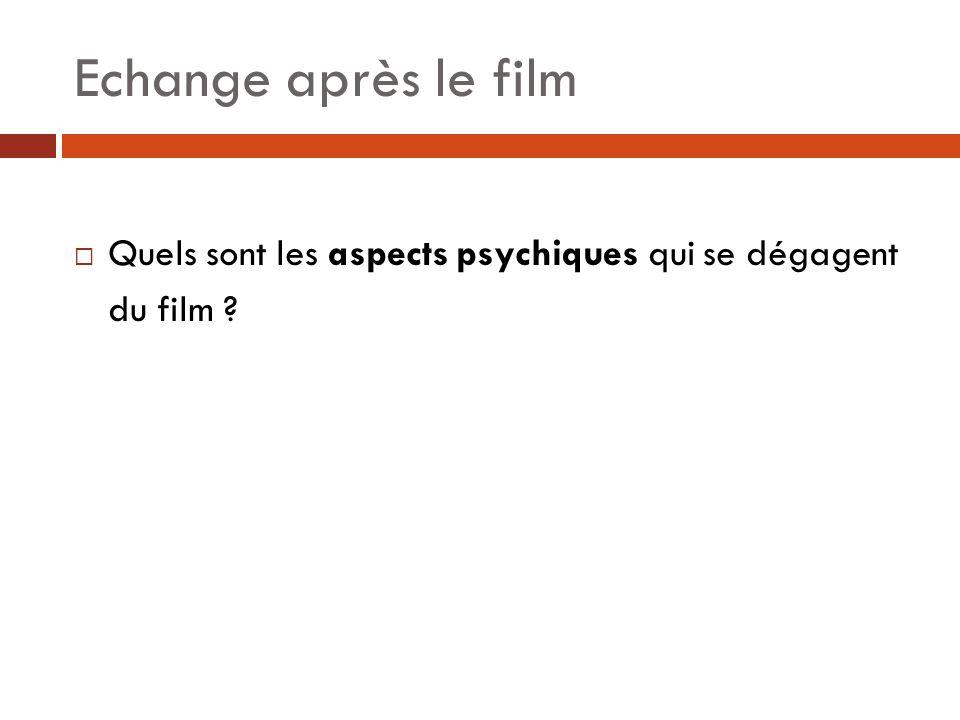 Echange après le film  Quels sont les aspects psychiques qui se dégagent du film ?