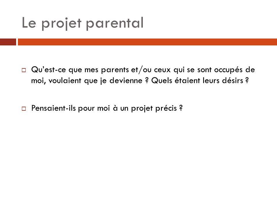 Le projet parental  Qu'est-ce que mes parents et/ou ceux qui se sont occupés de moi, voulaient que je devienne ? Quels étaient leurs désirs ?  Pensa