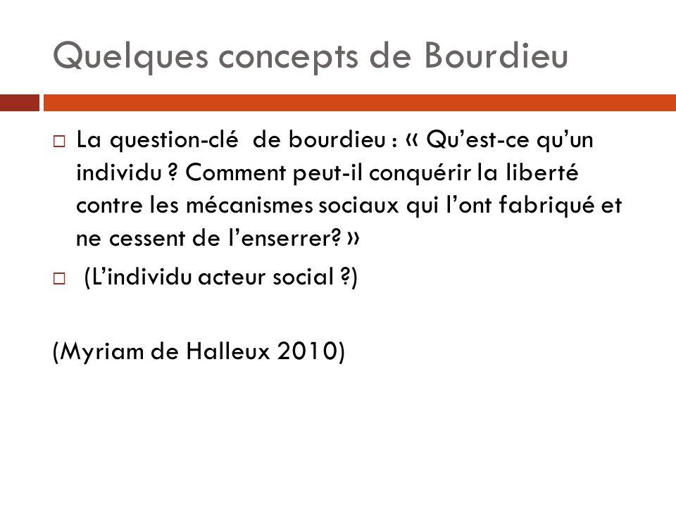 Quelques concepts de Bourdieu  La question-clé de bourdieu : « Qu'est-ce qu'un individu ? Comment peut-il conquérir la liberté contre les mécanismes