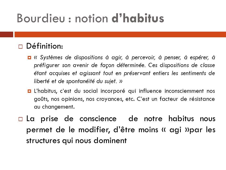 Bourdieu : notion d'habitus  Définition:  « Systèmes de dispositions à agir, à percevoir, à penser, à espérer, à préfigurer son avenir de façon déte