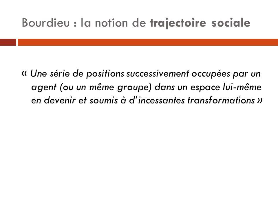 Bourdieu : la notion de trajectoire sociale « Une série de positions successivement occupées par un agent (ou un même groupe) dans un espace lui-même