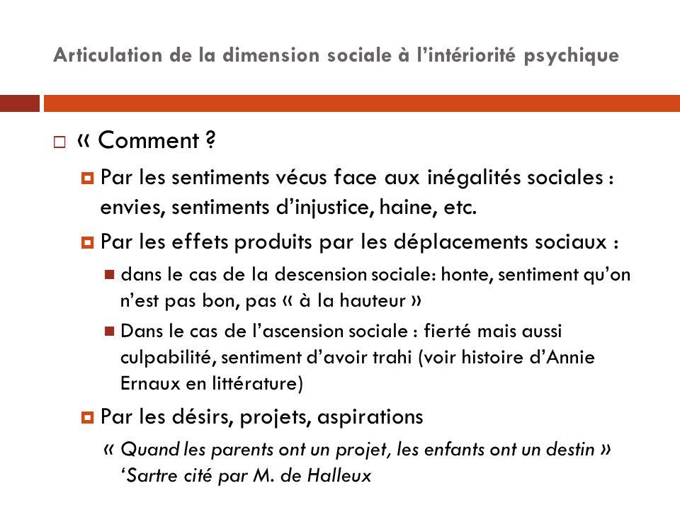 Articulation de la dimension sociale à l'intériorité psychique  « Comment ?  Par les sentiments vécus face aux inégalités sociales : envies, sentime