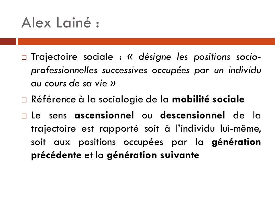 Alex Lainé :  Trajectoire sociale : « désigne les positions socio- professionnelles successives occupées par un individu au cours de sa vie »  Référ