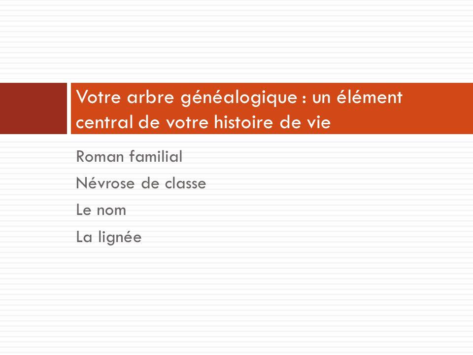 Roman familial Névrose de classe Le nom La lignée Votre arbre généalogique : un élément central de votre histoire de vie
