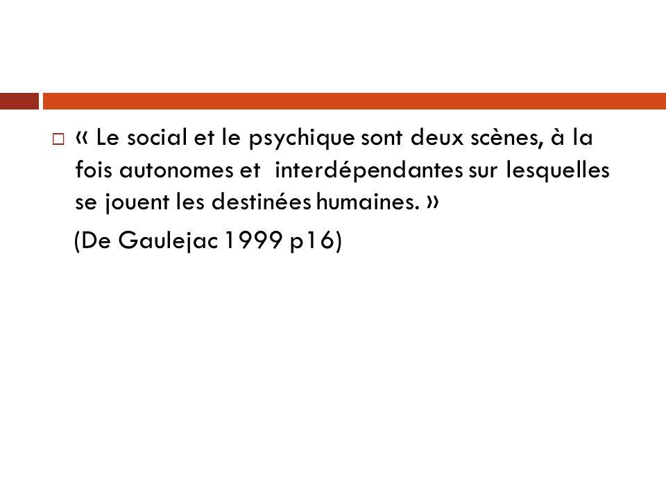  « Le social et le psychique sont deux scènes, à la fois autonomes et interdépendantes sur lesquelles se jouent les destinées humaines. » (De Gauleja