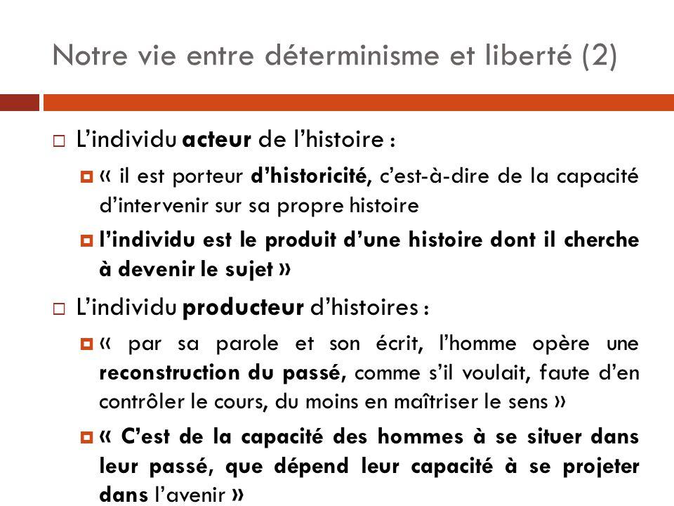  L'individu acteur de l'histoire :  « il est porteur d'historicité, c'est-à-dire de la capacité d'intervenir sur sa propre histoire  l'individu est