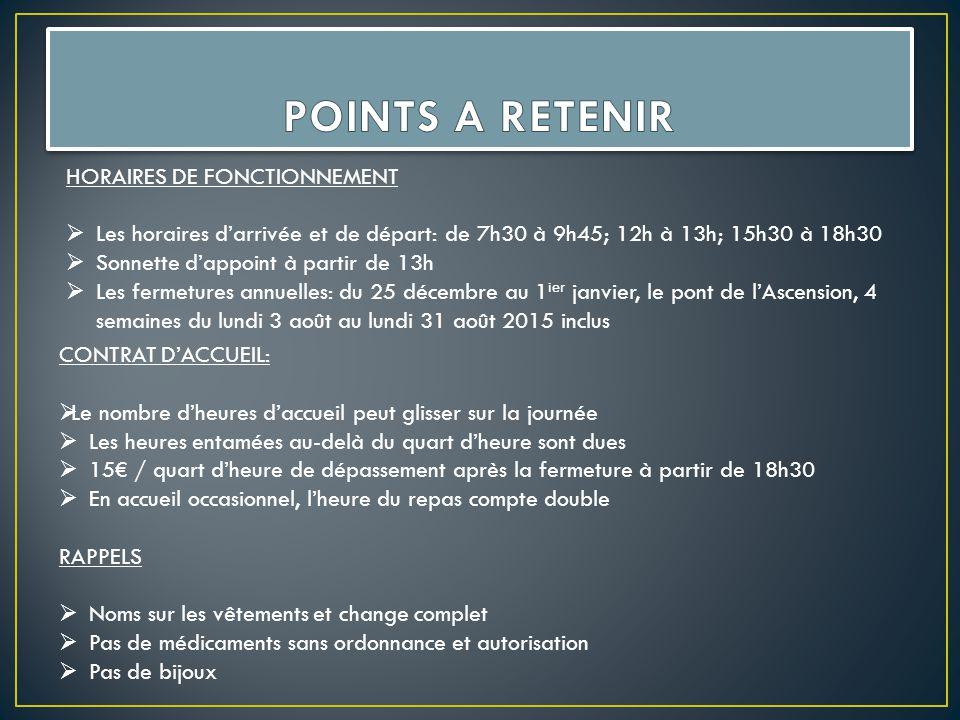 CONTRAT D'ACCUEIL:  Le nombre d'heures d'accueil peut glisser sur la journée  Les heures entamées au-delà du quart d'heure sont dues  15€ / quart d