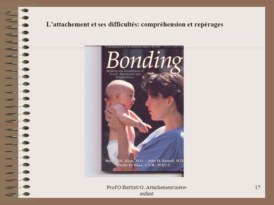 Prof O Battisti O, Attachement mère- enfant L'attachement et ses difficultés: compréhension et repérages 17