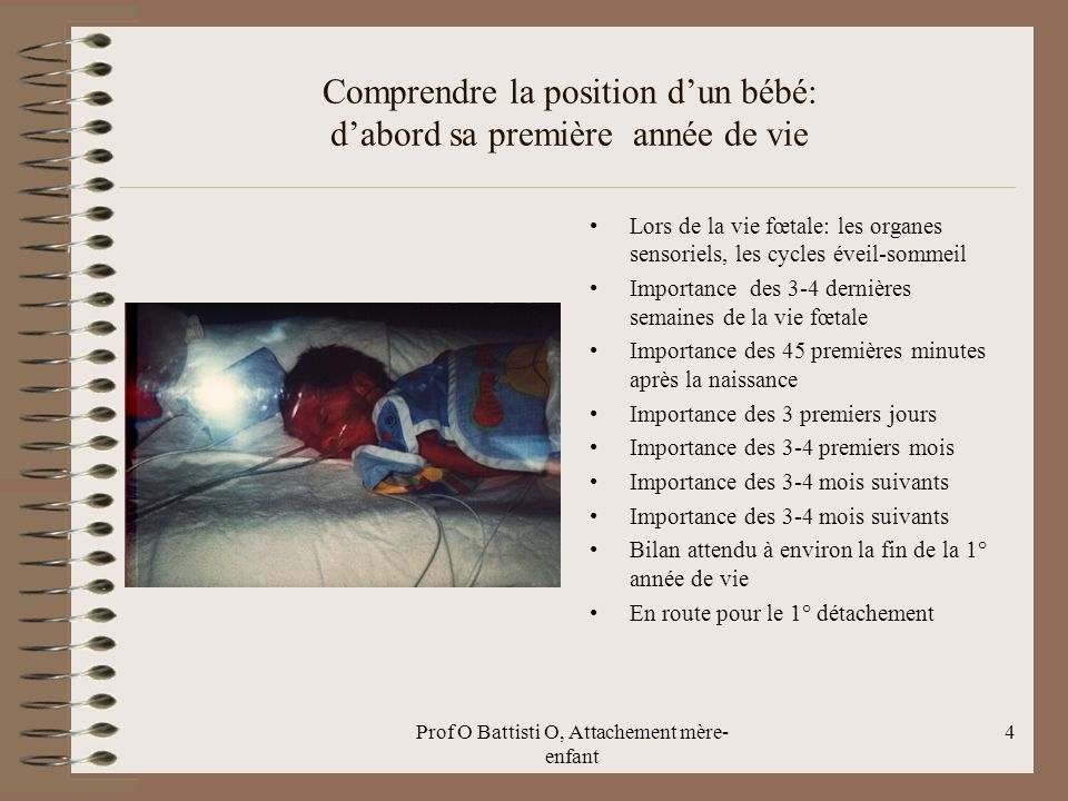 Prof O Battisti O, Attachement mère- enfant Comprendre la position d'un bébé: d'abord sa première année de vie Lors de la vie fœtale: les organes sens