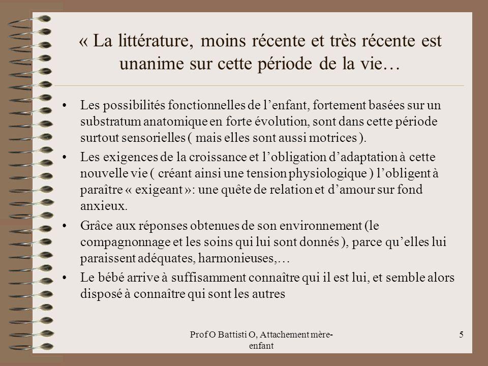Prof O Battisti O, Attachement mère- enfant « La littérature, moins récente et très récente est unanime sur cette période de la vie… Les possibilités