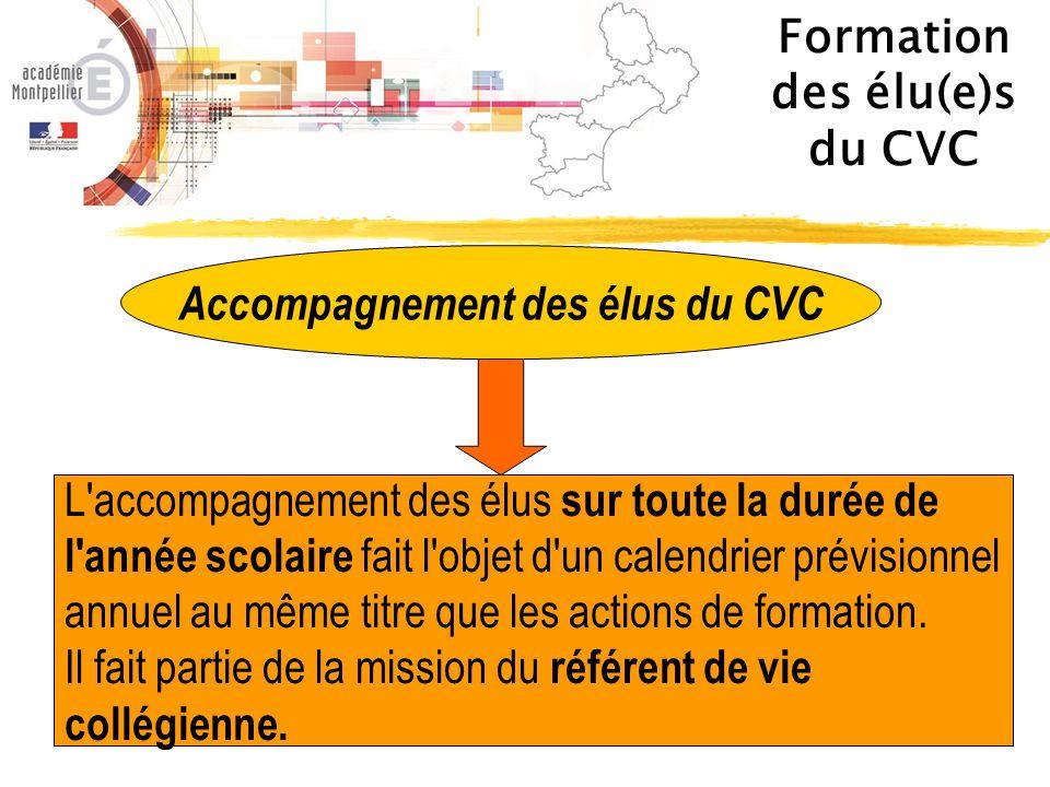 Des informations ici : Présentation du CVC pour les élèves Présentation du CVC pour les équipes éducatives et pédagogiques Et pour plus de renseignements : cvc@ac-montpellier.fr 04 67 91 45 24 / 04 67 91 53 84 Formation des élu(e)s du CVC