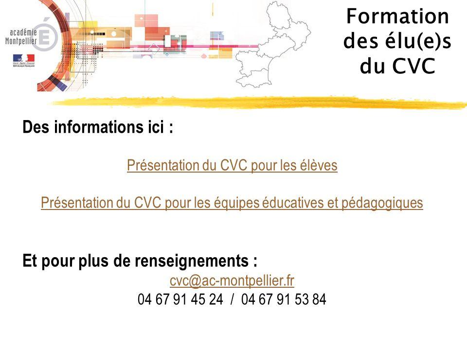 Des informations ici : Présentation du CVC pour les élèves Présentation du CVC pour les équipes éducatives et pédagogiques Et pour plus de renseigneme