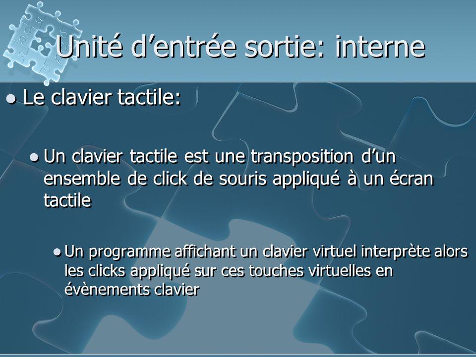 Le clavier tactile: Un clavier tactile est une transposition d'un ensemble de click de souris appliqué à un écran tactile Un programme affichant un clavier virtuel interprète alors les clicks appliqué sur ces touches virtuelles en évènements clavier Le clavier tactile: Un clavier tactile est une transposition d'un ensemble de click de souris appliqué à un écran tactile Un programme affichant un clavier virtuel interprète alors les clicks appliqué sur ces touches virtuelles en évènements clavier