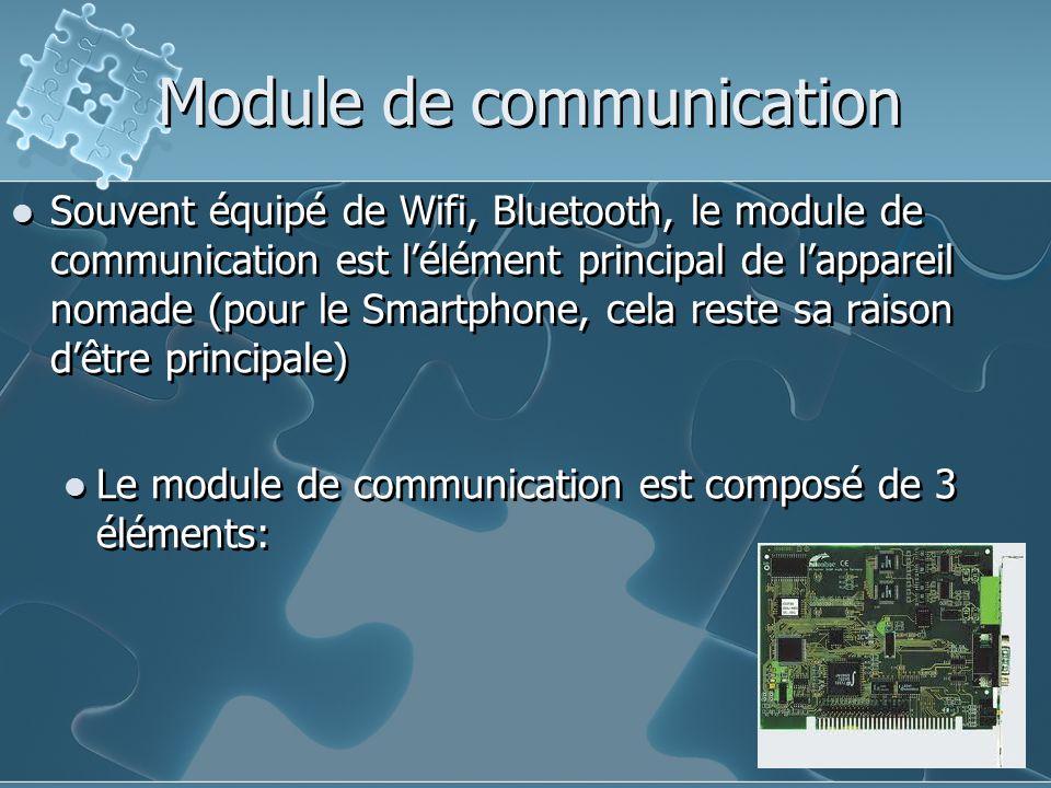 Module de communication Souvent équipé de Wifi, Bluetooth, le module de communication est l'élément principal de l'appareil nomade (pour le Smartphone, cela reste sa raison d'être principale) Le module de communication est composé de 3 éléments: Souvent équipé de Wifi, Bluetooth, le module de communication est l'élément principal de l'appareil nomade (pour le Smartphone, cela reste sa raison d'être principale) Le module de communication est composé de 3 éléments:
