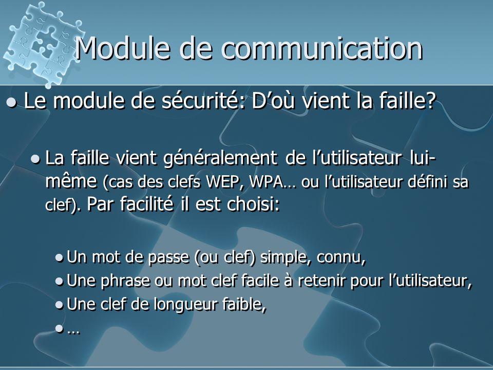 Module de communication Le module de sécurité: D'où vient la faille.
