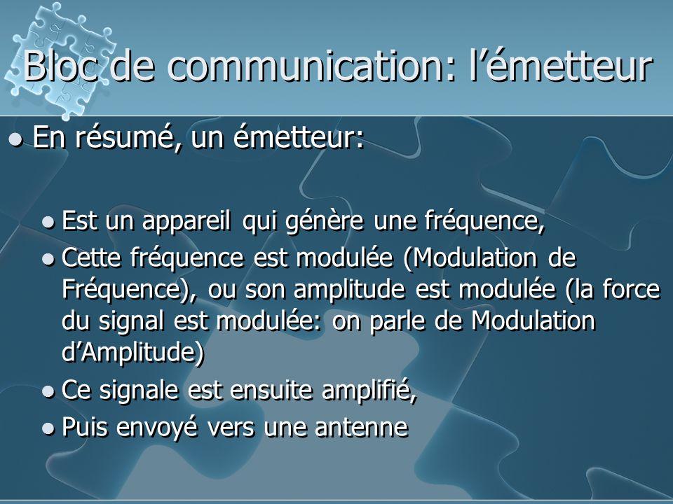 En résumé, un émetteur: Est un appareil qui génère une fréquence, Cette fréquence est modulée (Modulation de Fréquence), ou son amplitude est modulée (la force du signal est modulée: on parle de Modulation d'Amplitude) Ce signale est ensuite amplifié, Puis envoyé vers une antenne En résumé, un émetteur: Est un appareil qui génère une fréquence, Cette fréquence est modulée (Modulation de Fréquence), ou son amplitude est modulée (la force du signal est modulée: on parle de Modulation d'Amplitude) Ce signale est ensuite amplifié, Puis envoyé vers une antenne Bloc de communication: l'émetteur