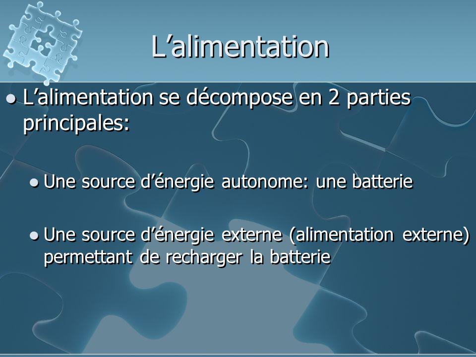 L'alimentation L'alimentation se décompose en 2 parties principales: Une source d'énergie autonome: une batterie Une source d'énergie externe (alimentation externe) permettant de recharger la batterie L'alimentation se décompose en 2 parties principales: Une source d'énergie autonome: une batterie Une source d'énergie externe (alimentation externe) permettant de recharger la batterie