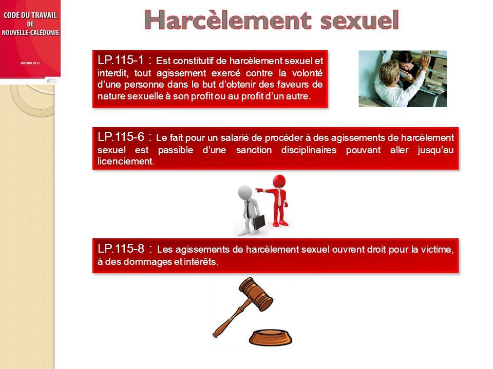 LP.115-1 : Est constitutif de harcèlement sexuel et interdit, tout agissement exercé contre la volonté d'une personne dans le but d'obtenir des faveurs de nature sexuelle à son profit ou au profit d'un autre.
