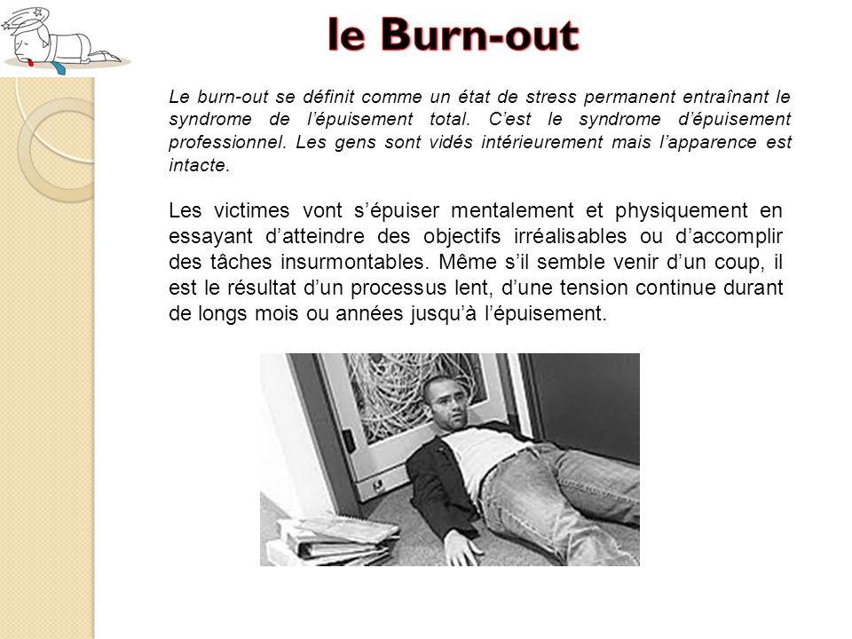 Le burn-out se définit comme un état de stress permanent entraînant le syndrome de l'épuisement total.