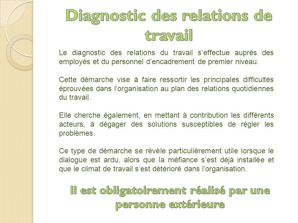Le diagnostic des relations du travail s'effectue auprès des employés et du personnel d'encadrement de premier niveau.