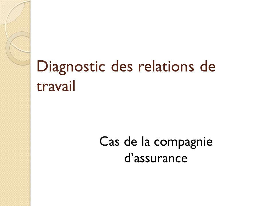 Diagnostic des relations de travail Cas de la compagnie d'assurance