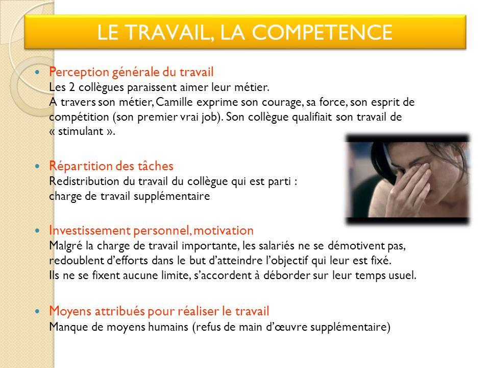 LE TRAVAIL, LA COMPETENCE Perception générale du travail Les 2 collègues paraissent aimer leur métier.