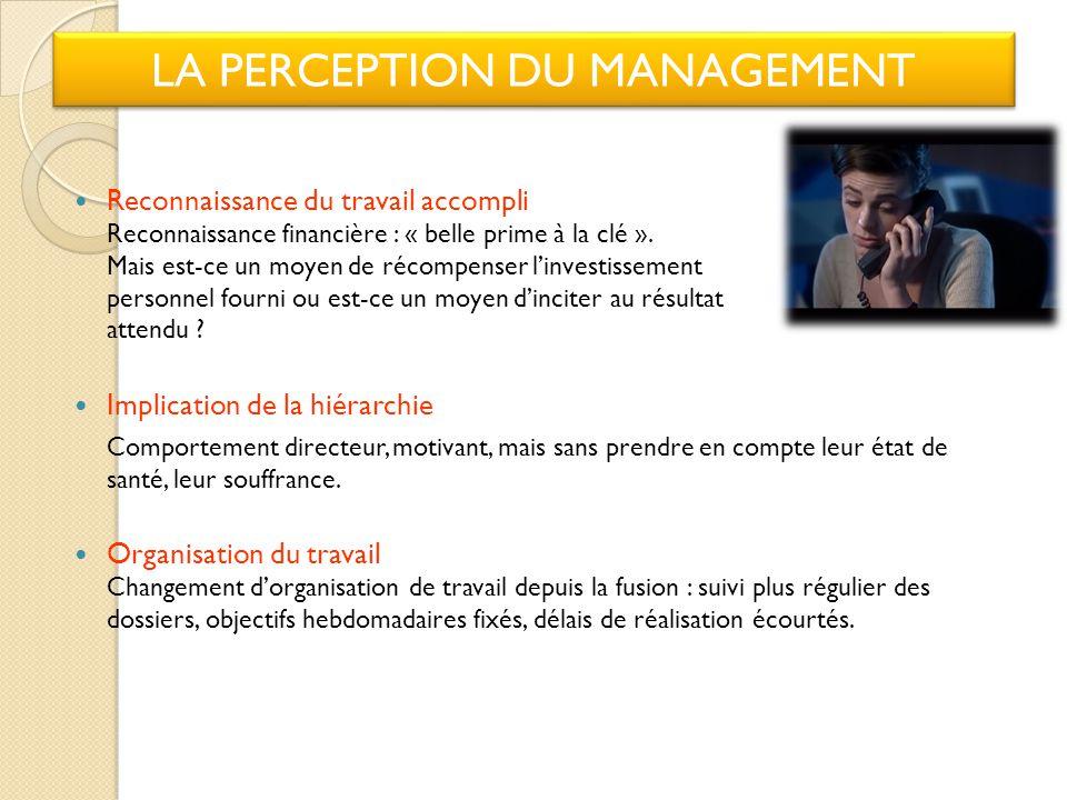 LA PERCEPTION DU MANAGEMENT Reconnaissance du travail accompli Reconnaissance financière : « belle prime à la clé ».