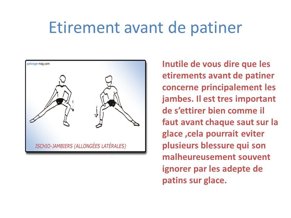 Etirement avant de patiner Inutile de vous dire que les etirements avant de patiner concerne principalement les jambes. Il est tres important de s'ett