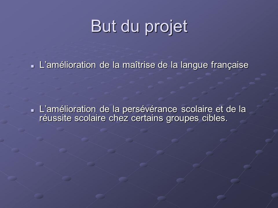 But du projet L'amélioration de la maîtrise de la langue française L'amélioration de la maîtrise de la langue française L'amélioration de la persévéra