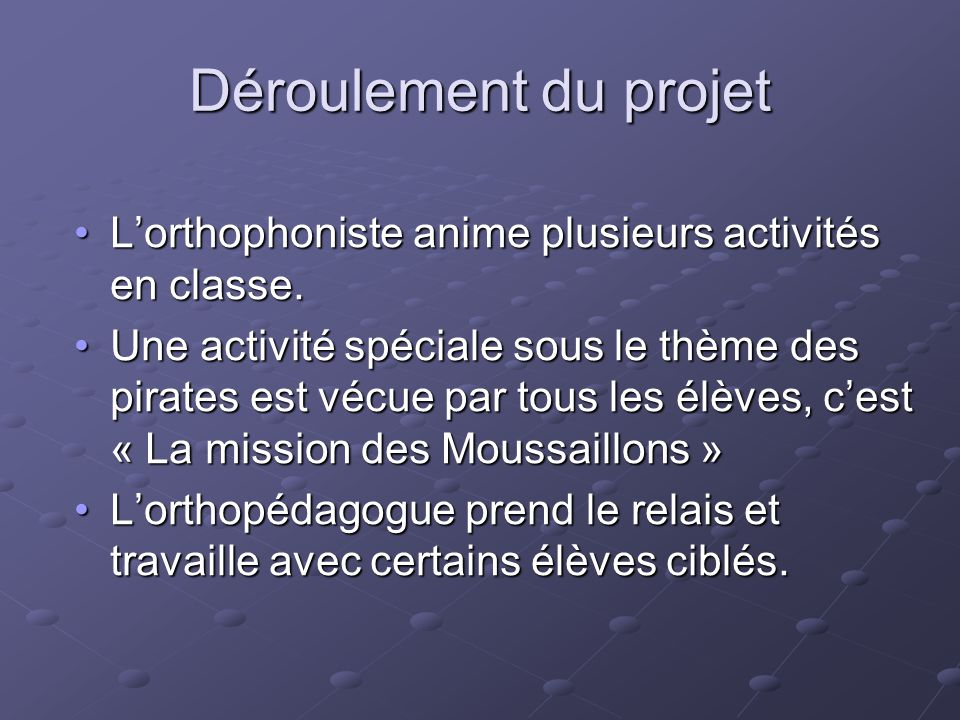 Déroulement du projet L'orthophoniste anime plusieurs activités en classe.L'orthophoniste anime plusieurs activités en classe. Une activité spéciale s