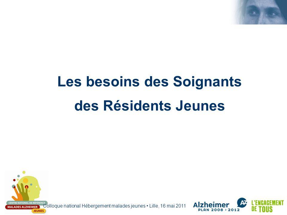Colloque national Hébergement malades jeunes Lille, 16 mai 2011 Les besoins des Soignants des Résidents Jeunes