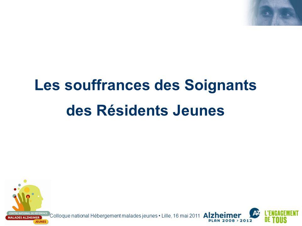 Colloque national Hébergement malades jeunes Lille, 16 mai 2011 Les souffrances des Soignants des Résidents Jeunes
