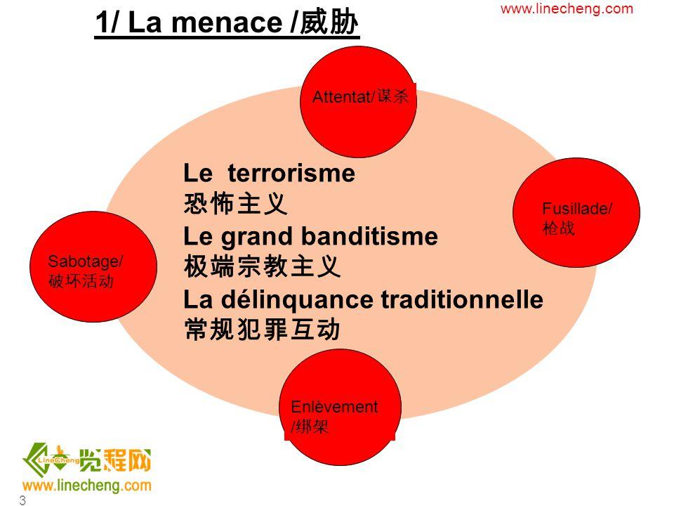 4 Missions/ 任务 : Protection des biens et des personnes H24 - 7/7 7X24 小时保护人员和财产的安全 Moyens/ 措施 : TSU Security Team ( 2 Security manager-2 Deputy ) TSU 安保团队( 2 名安保经理, 2 名副经理) ensemble de moyens passifs (caméras, clôture, barrières) et actifs ( gardiennage, FDS) 硬件防护体系(摄像头,围栏,路障)和人员(保安,快速响 应部队) Un réseau de communication ( vhf, gsm, SAT) 通讯网络(甚高频对讲机,手机,卫星) Le dispositif sûreté/ 安全部署 : www.linecheng.com